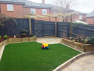 A garden in Droitwich is transformed by our landscaping and artificial grass teams.